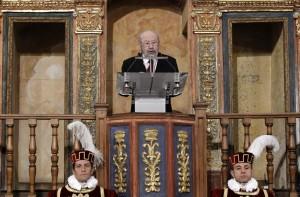 José Manuel Caballero Bonald durante su discurso de agradecimiento del Premio Cervantes