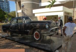 El carro de Antonio de la Maza será exhibido en la parte frontal de la Plaza de la Cultura.